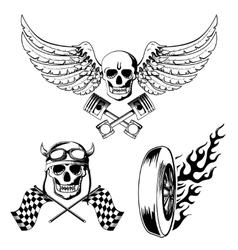 Motorcycle bike labels set vector image