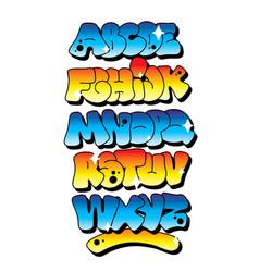 Multicolored graffiti alphabet font vector