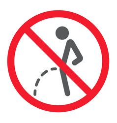 No peeing glyph icon prohibition and forbidden vector