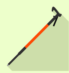 Nordic walking stick icon flat style vector