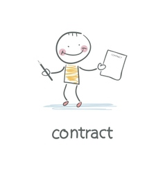 Person signs the contract vector image