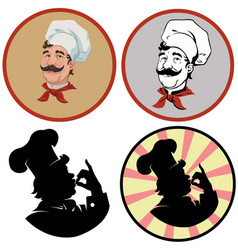 Portrait of cheerful cookset of four vector