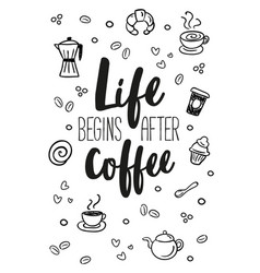 poster with decorative coffee lettering vector image