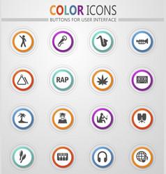 Rap music icons set vector