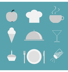 Restaurant icon set Chef hat cloche coffee plate vector