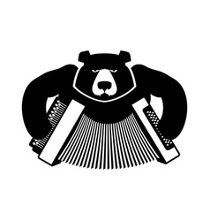 russia logo bear with accordion grizzlies with an vector image