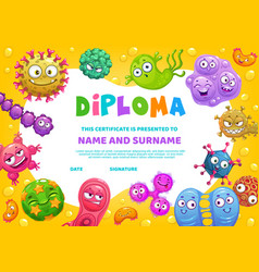 school diploma certificate with funny germs vector image
