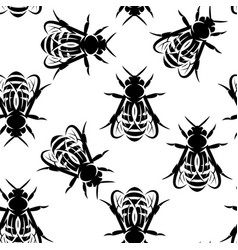 seamless background with bees monochrome vector image