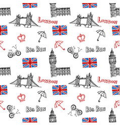 seamless background with symbols of london vector image