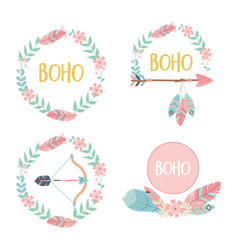 Set decorations boho style vector