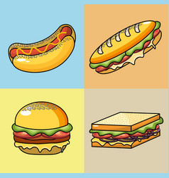 Set delicious fast food meal vector