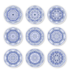 set of decorative plates with a arabic blue vector image