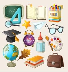 Set of school items vector image