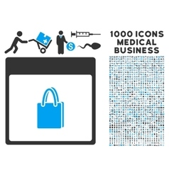 Shopping bag calendar page icon with 1000 medical vector