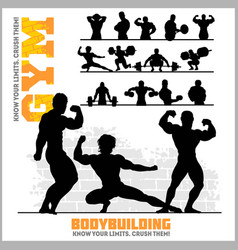 silhouettes of bodybuilders - gym icon set vector image