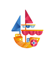 small sloop ship with colored sails flat vector image