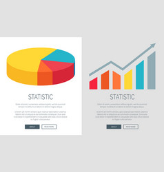 Statistic design with pie chart and bar graph vector