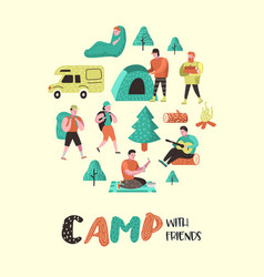summer camping cartoon characters people in camp vector image