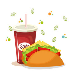 Taco and soda fast food vector