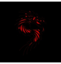 Tattoo red dragon black background vector