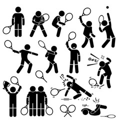 tennis player actions poses postures stick figure vector image