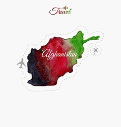 Travel around world afghanistan watercolor map vector