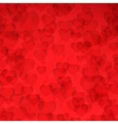Valentines Day Card - Red background with hearts vector image