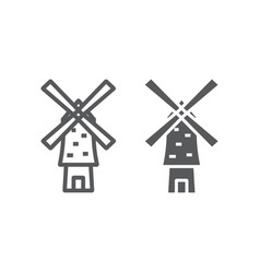 Windmill line and glyph icon energy and wind vector