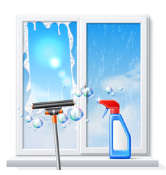 Window cleaning squeege 3d detergent spray vector