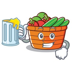 with juice fruit basket character cartoon vector image