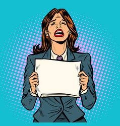 woman crying blank board vector image