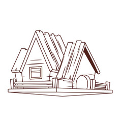 wooden house cartoon vector image