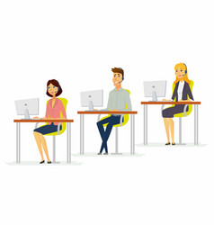 workday in a call center - modern cartoon people vector image