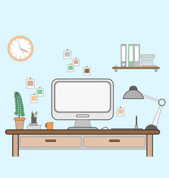 Workspace for freelancer with vector