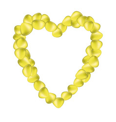 yellow rose petals in shape of heart vector image
