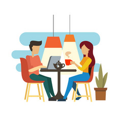 Young couple talking and drinking tea vector