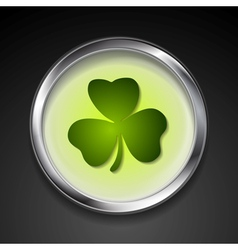 Abstract button with shamrock vector image vector image