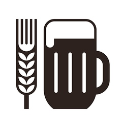 Beer glass and wheat ear symbol vector image vector image