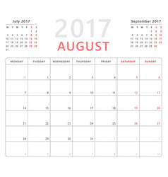 Calendar planner 2017 august week starts monday vector