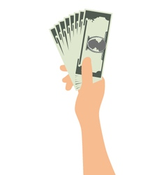 Hand Holding Money Isolated On White Background vector image