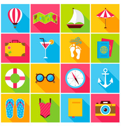 summer colorful icons vector image vector image