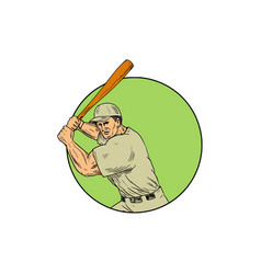 baseball player batting stance circle drawing vector image vector image