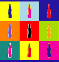 beer bottle sign pop-art style colorful vector image