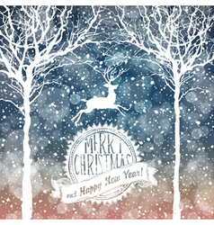 christmas deer with label vector image vector image