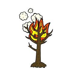 comic cartoon burning tree vector image vector image