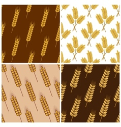 Seamless patterns of wheat and cereal ears vector image vector image