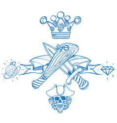 sketch of tattoo with a crown and a baseball bat vector image