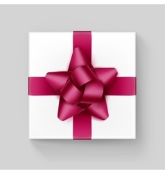 White Box with Dark Pink Ribbon Bow Isolated vector image vector image