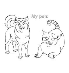 cat dog vector image vector image