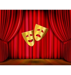 golden masks and red curtain vector image vector image